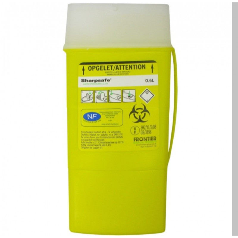 """Sharpsafe Naaldcontainer 0,6L """"Clear"""" opening"""